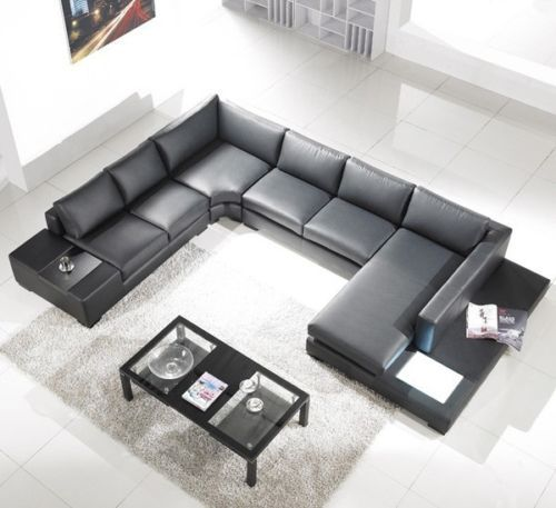 new black top grain italian leather sectional sofa w built in