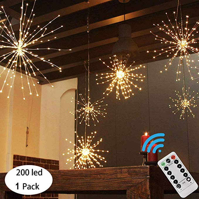 Hanging Fireworks Lights Battery Operated Starburst Lights 8 Modes Dimmable Remote Control Waterproof Fairy Copper Wire Lights Sphere Light Starburst Light