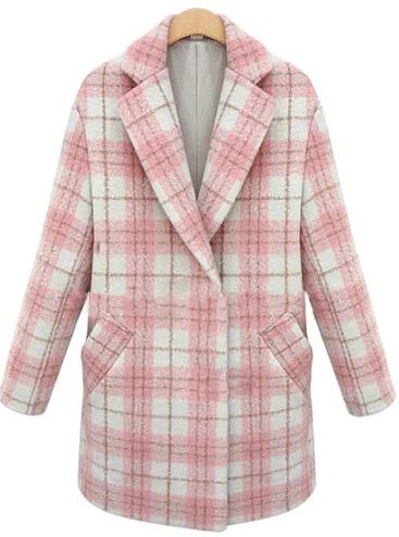 Pink Lapel Long Sleeve Plaid Woolen Coat - abaday.com