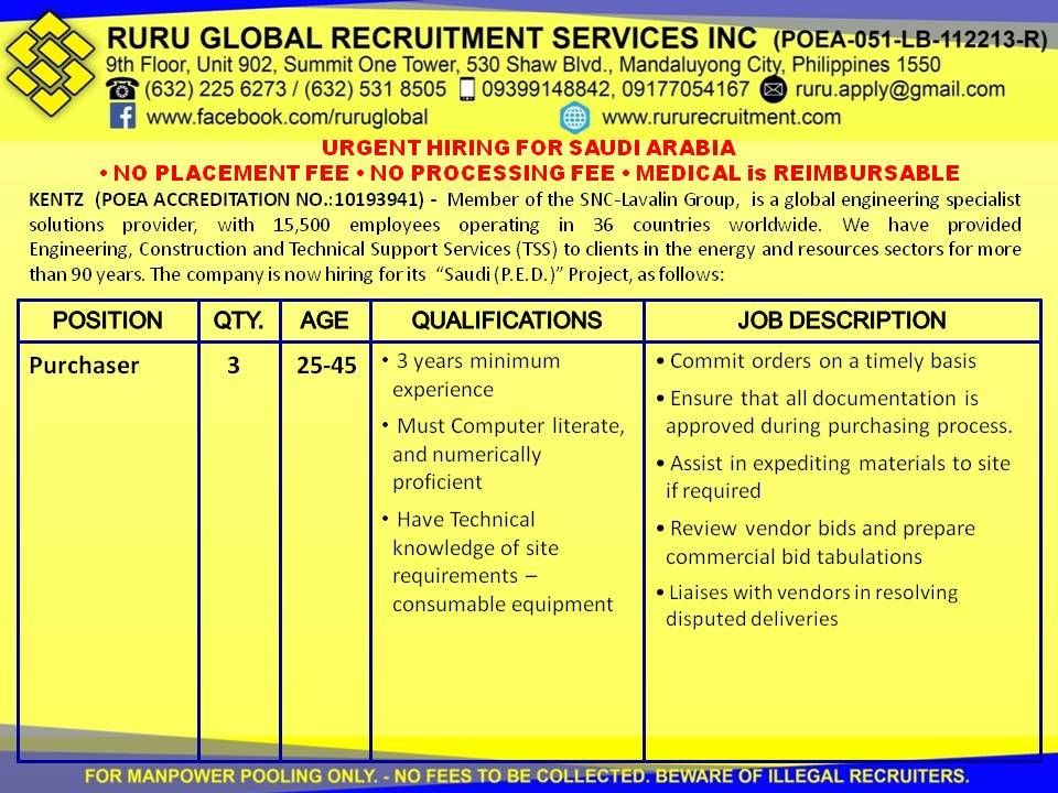 Kentz Saudi Arabia Hiring For Junior Procurement Officer