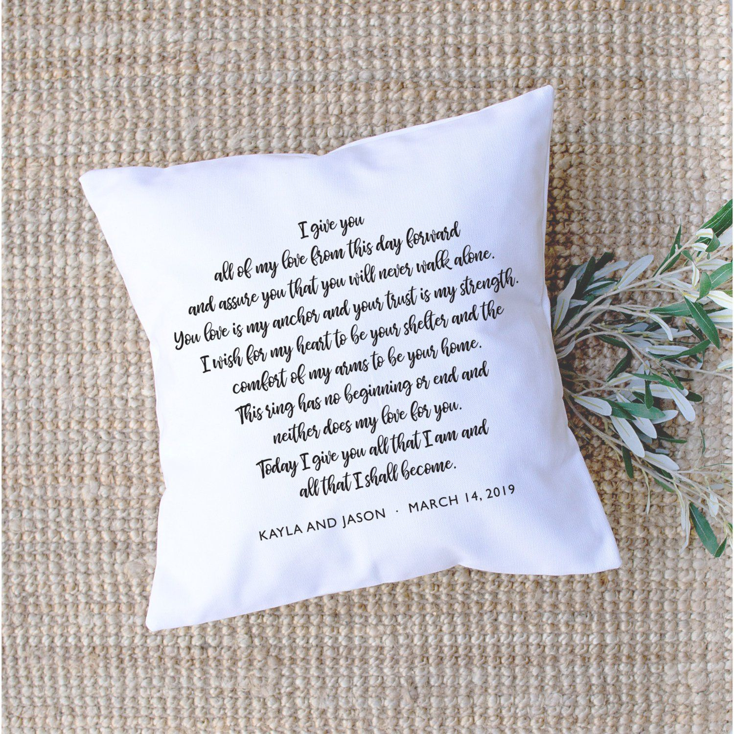 Wedding Vows Pillow Personalized Anniversary Gift From