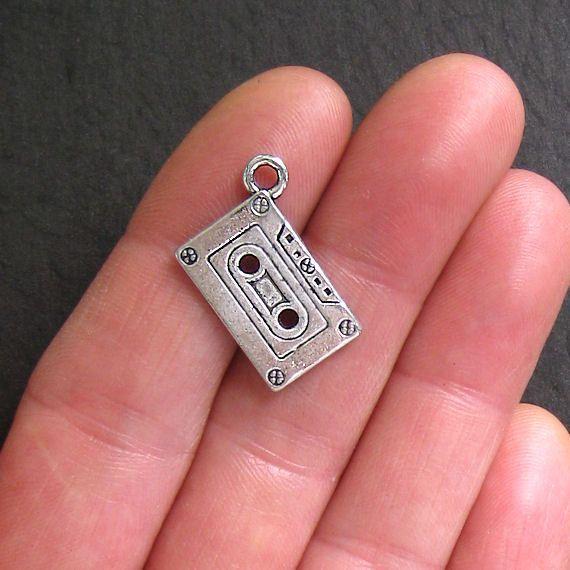 5 Cassette Tape Charms Antique Tibetan Silver Tone Retro Flashback - SC525 on Etsy, $2.50