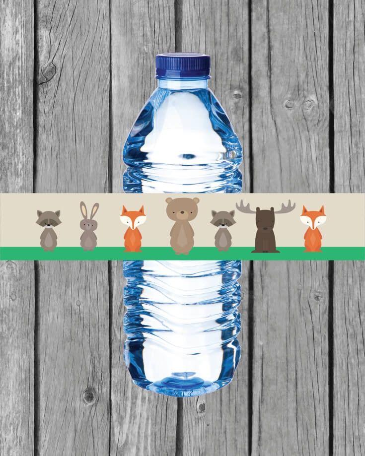 Printable Woodland Animals Water Bottle Labels Water Bottle