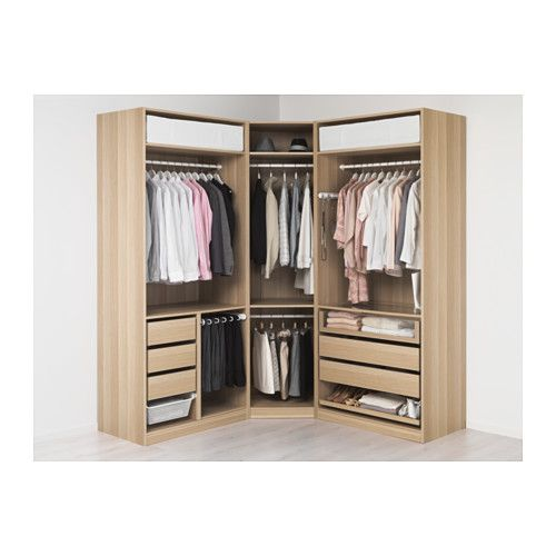 pax wardrobe white stained oak effect tanem white 196 196x60x236 cm standard hinges closets. Black Bedroom Furniture Sets. Home Design Ideas