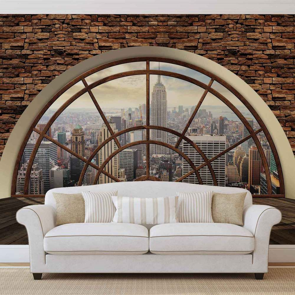 details zu new york city skyline fenster vlies fototapete tapete mural 2397dk vlies. Black Bedroom Furniture Sets. Home Design Ideas