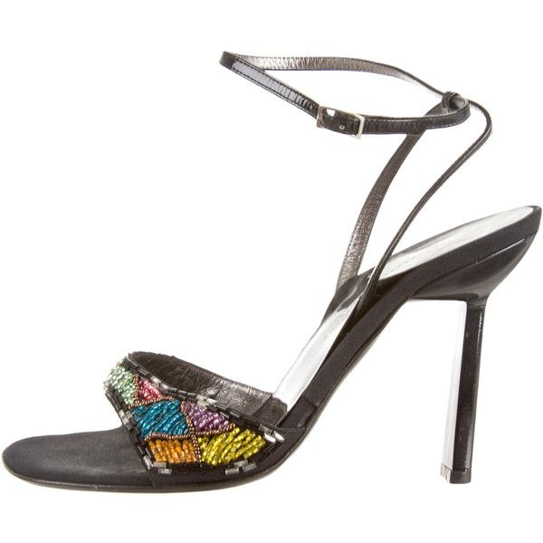 Pre-owned Giuseppe Zanotti Sandals (215 AUD) ❤ liked on Polyvore featuring shoes, sandals, black, pre owned shoes, black beaded sandals, kohl shoes, black patent leather sandals and black patent shoes