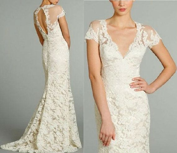 2014 New White/Ivory High Quality Cap Sleeve Lace Wedding by C1005