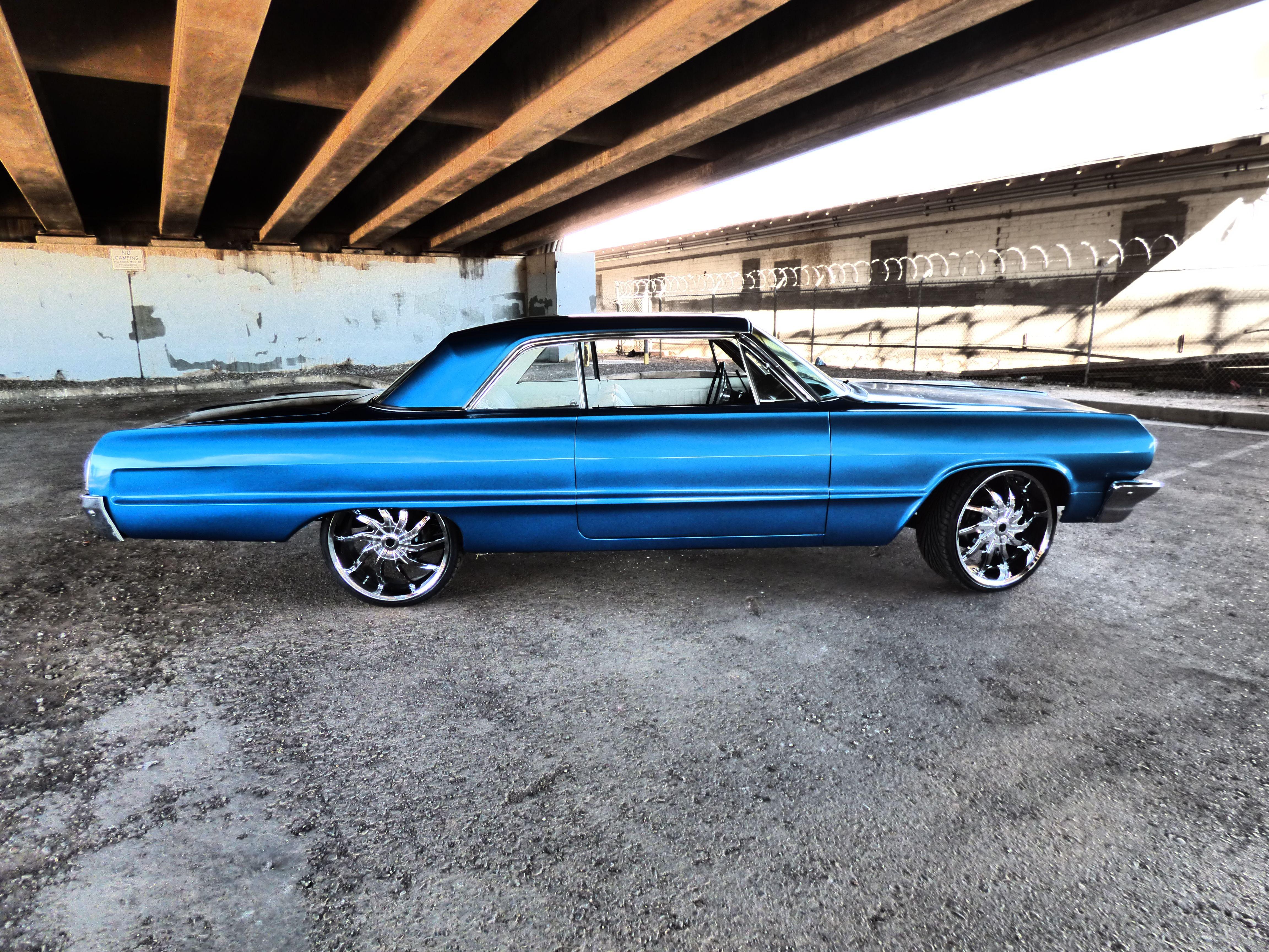 Apex Customs 1964 Chevy Impala Blue 3m Vinyl Wrap Automotive Shops Vinyl Racing Stripes Vinyl Wrap Car
