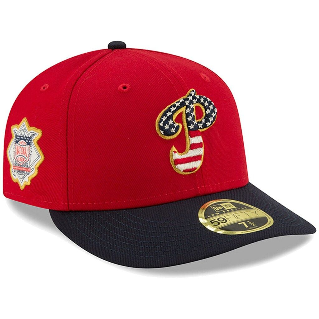 Men S New Era Red Navy Philadelphia Phillies 2019 Stars Stripes 4th Of July On Field Low Profile 59fifty Fitted Hat Fitted Hats Philadelphia Phillies Phillies