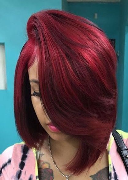 Cute Red Bob Wigs For Black Women Human Hair Wigs Lace Front Wigs Hairstyles Hair Styles Burgundy Hair Red Hair Color