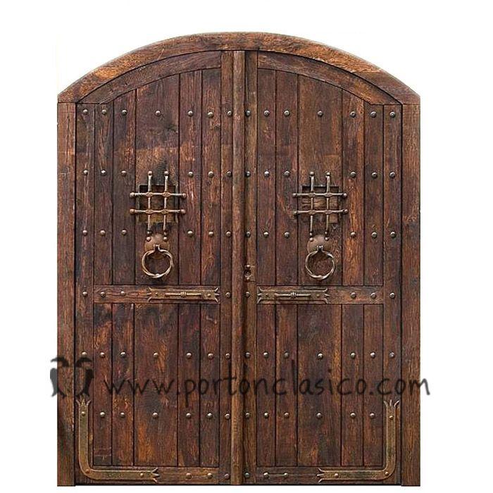 Puertas de madera con forja buscar con google for Puertas y portones de madera