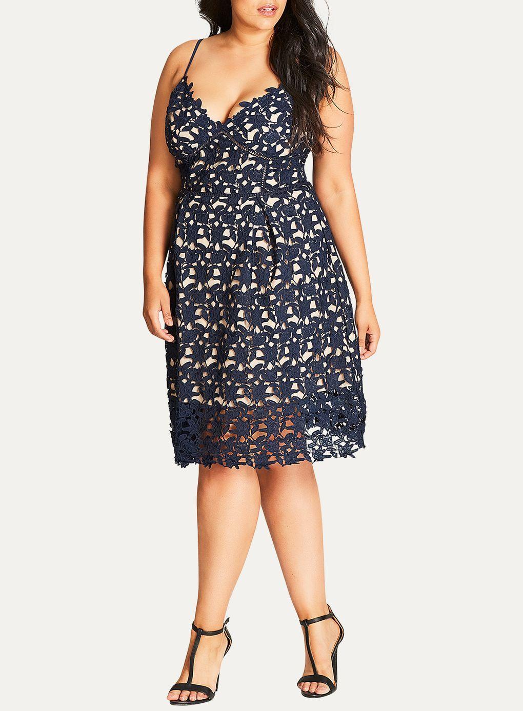 City Chic Kleid mit Lasercut, Blau | Kleid plus größen ...
