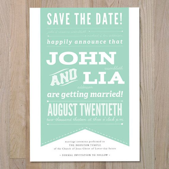 Retro Save the Date Order online print at home Invitation