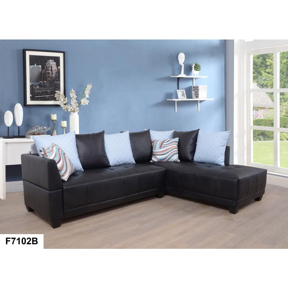 Dark Brown Faux Left Leather Sectional Sofa Set (2-Piece ...