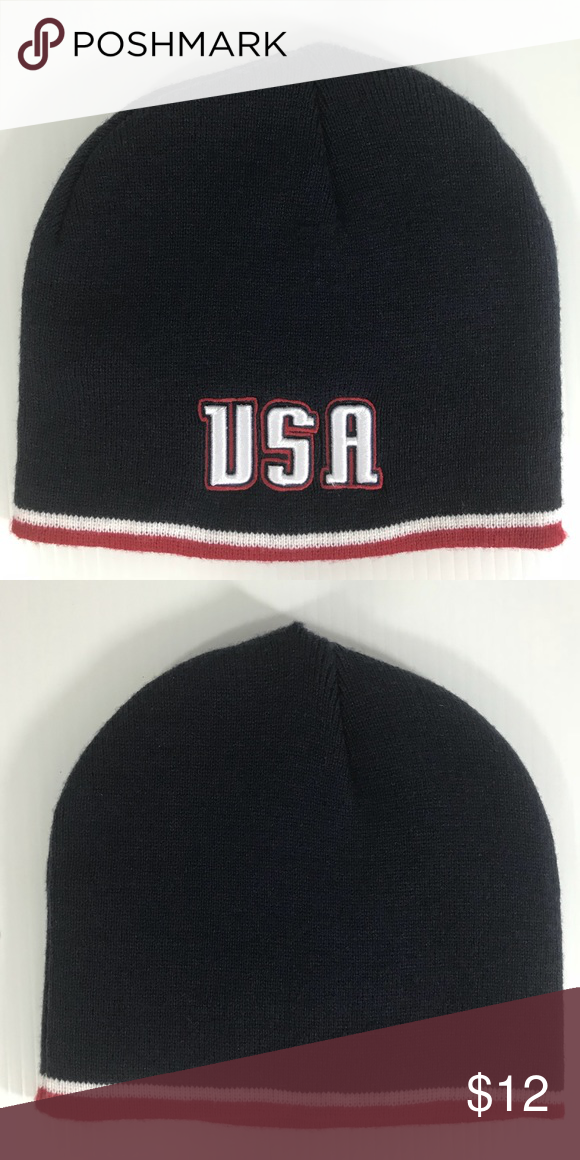 24b6a42d930a9 Colosseum Athletics USA Beanie Winter Hat Navy blue with white and red  stripe. 100% Acrylic. Embroidered USA. Imported. Machine wash. Colosseum  Athletics ...