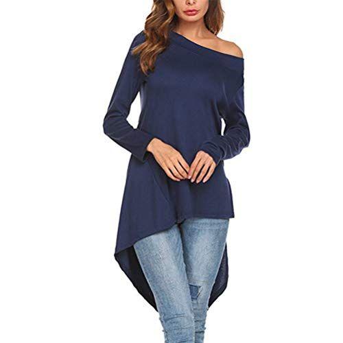 500a46af4 Fgfghbfhrger Mujeres Casual Mangas largas Sueltas Irregular Dobladillo  Camisetas Sólido Llanura Tops largas Vestido Casual (