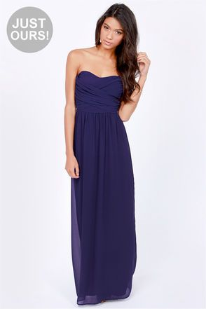0a74b5d4ac10 LULUS Exclusive Slow Dance Strapless Navy Blue Maxi Dress at Lulus.com