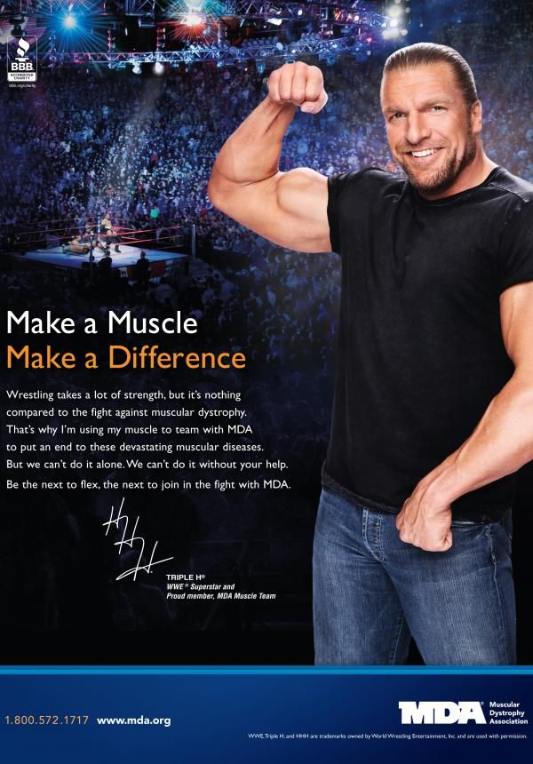 mda muscle team member triple h is the next to flex for mda in the fight against muscle disease