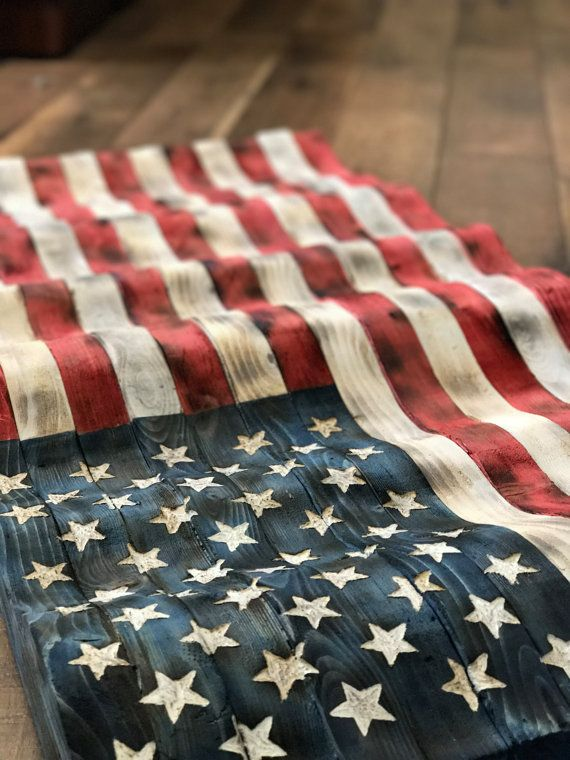 This Flying Wooden American Flag Is Hand Made Carved Stained Charred And Burned To American Perfection Th American Flag Wood Wooden American Flag Wood Flag
