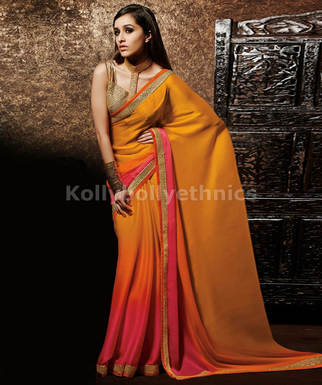 Designer saris online shopping in usa uk canadabuy shaded pink and