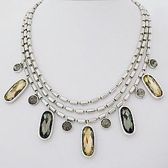 Triple Strand Silver Chain with Crystal Drops -Sweet Lola Jewelry