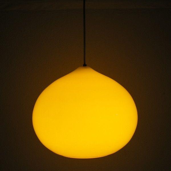 Yellow Ceiling Glass Lamp. Scandinavia. 1960 1965.