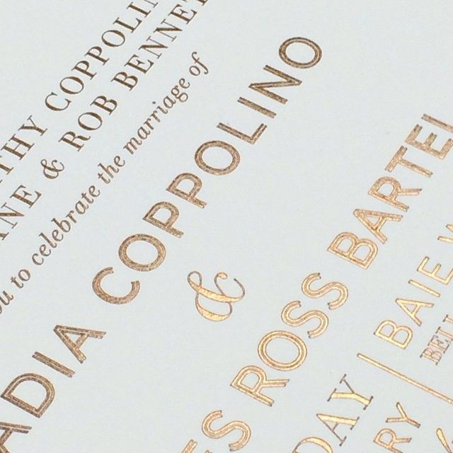 The stunning bronze foil on Nadia's invitation truly reflected her elegant styling. Loved working with @nadiabartel on her fabulous invitation suite #wedding #bride #jimmyandnadia #invitation #instadaily #design #style #luxe #foil #calligraphy #papyrusdesign