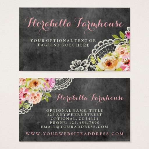 Shabby chic rustic roses painted on chalkboard business card vintage shabby chic rustic roses painted on chalkboard business card vintage boutique branding marketing by cyanskydesign reheart Images