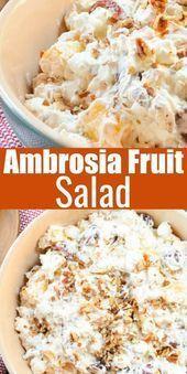 Ambrosia Fruit Salad Recipe is a creamy fruit salad with whipped cream and greek...  Ambrosia Fruit ... - #ambrosia #creamy #fruit #recipe #salad - #FrogeyeSaladRecipe