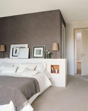 schlafzimmergestaltung doppelbett eingebautes fach stauraum - Schlafzimmergestaltung