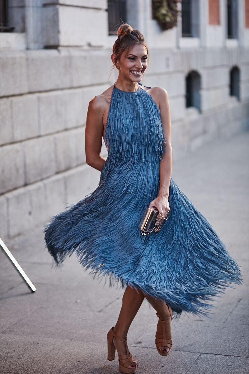 zara vestido gasa azul