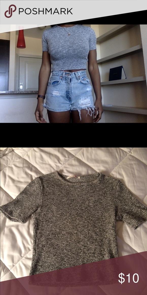 Sweater grey crop top Thick crop top Tops Crop Tops