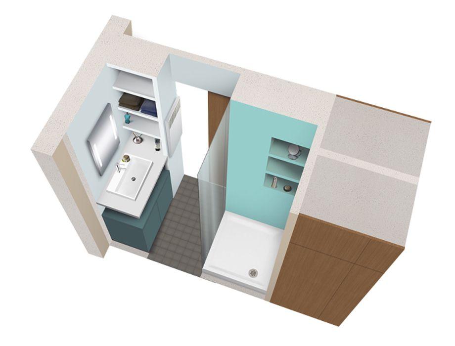 Salle de bains rectangulaire de 2m² Idées déco Pinterest Small