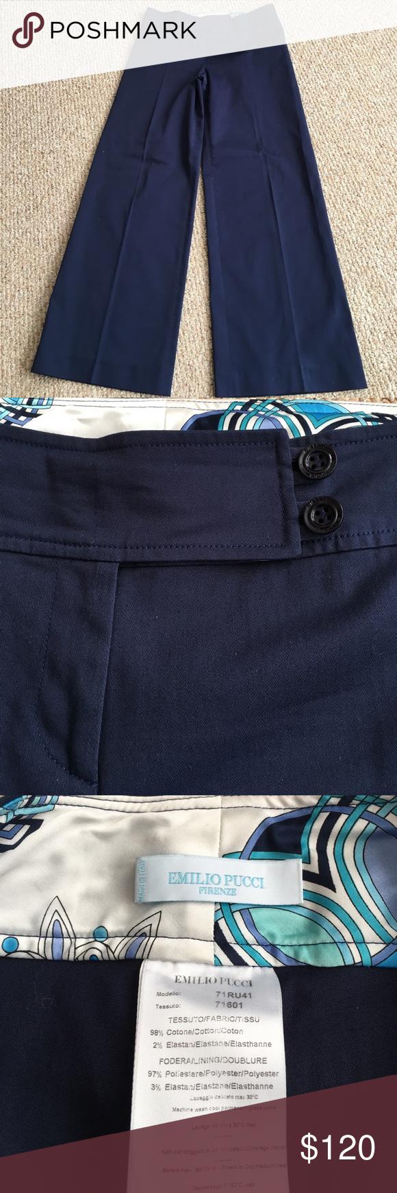"""Emilio Pucci Firenze Slacks EUC. Navy blue. Cotton/elastin blend. Size 12. Wide leg. Inseam 30 1/2"""". Emilio Pucci Pants Wide Leg"""