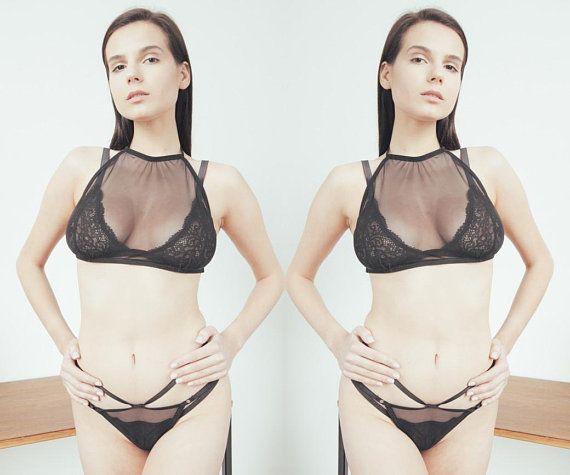 c8c65f3d71 Black Mesh Lingerie Set See Through Bra Panties Transparent Bra And Panties  - Mesh Thong Lingerie Se