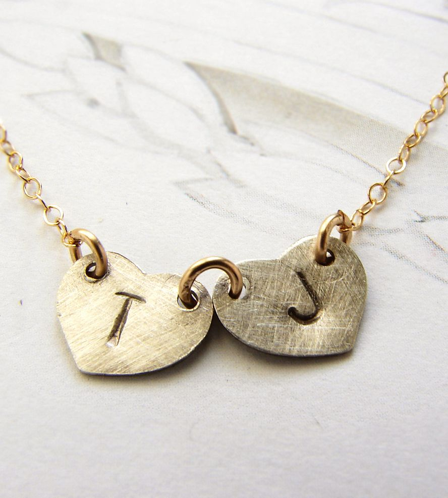 Custom double initial necklace initial necklaces initials and jewel custom double initial necklace mozeypictures Images