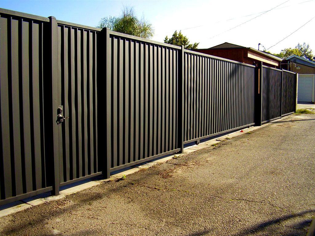 Bedroom Fascinating Horizontal Wood Corten Steel Fence Outdoor