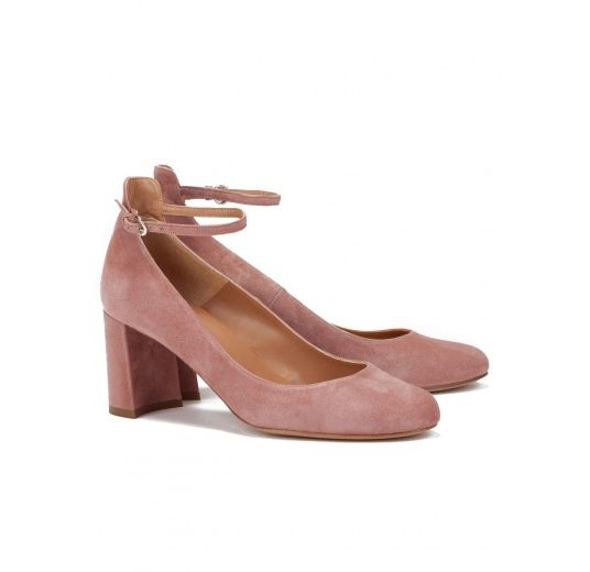 5427245510d Ankle strap mid heel shoes in pink suede Pura L pez