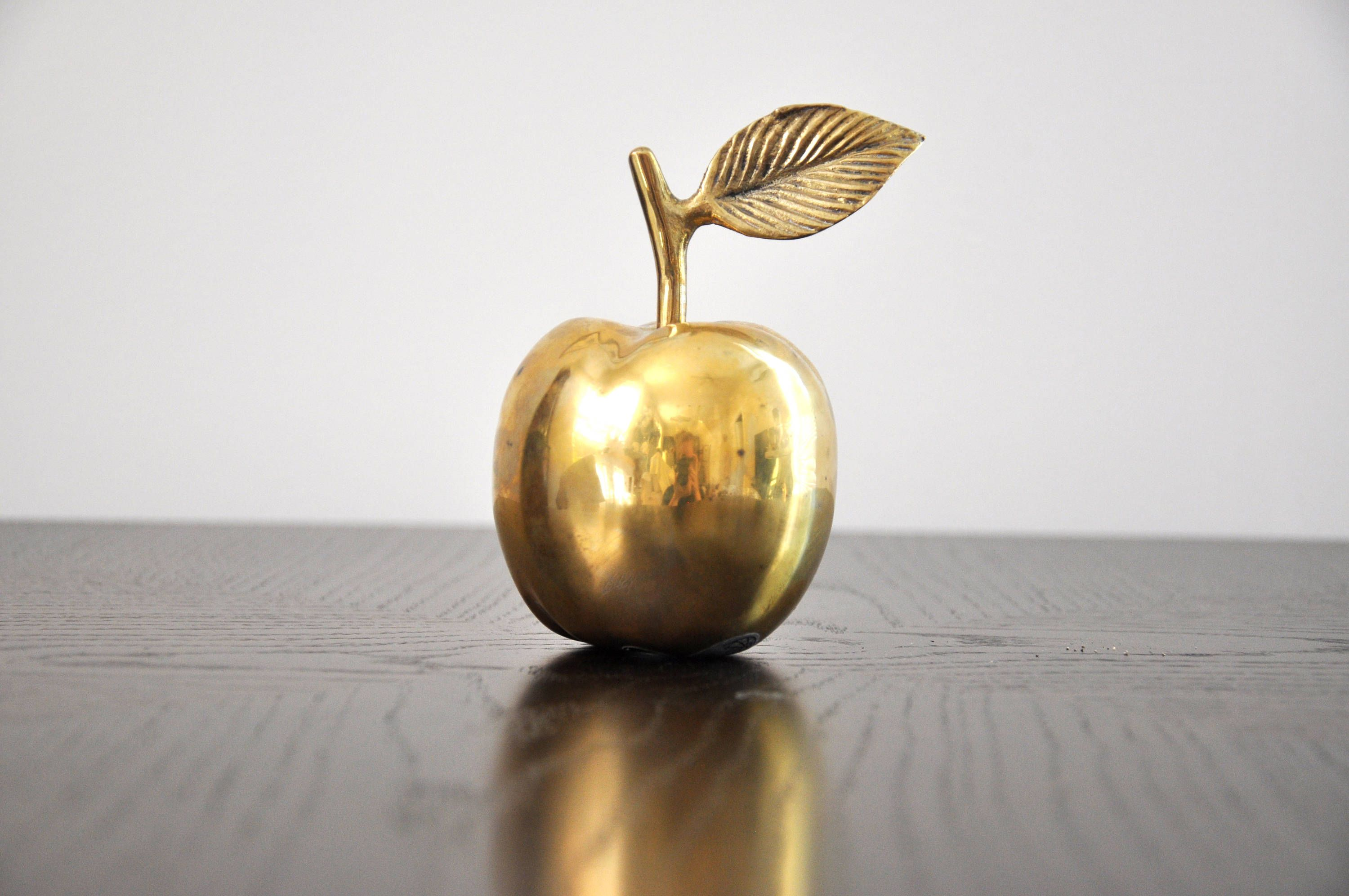 Vintage Solid Brass Apple By Gatco / Made In India / Home Decor / Paper  Weight
