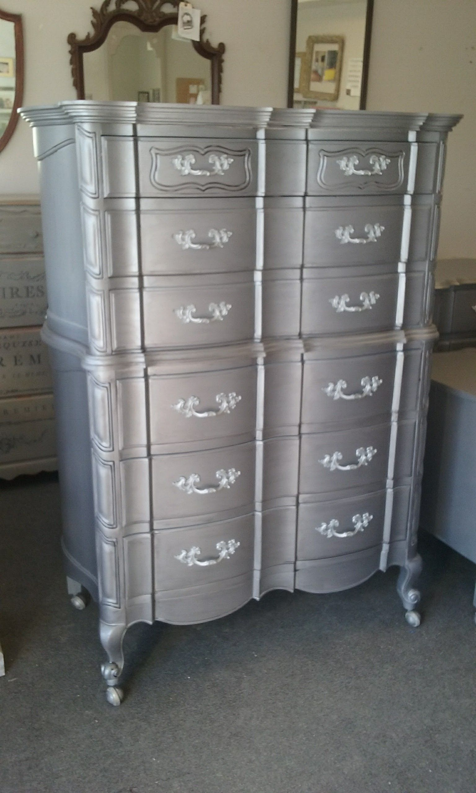 Metallic Painted Vintage Dresser Furniture With Aged Pewter French Provincial France Bedroom