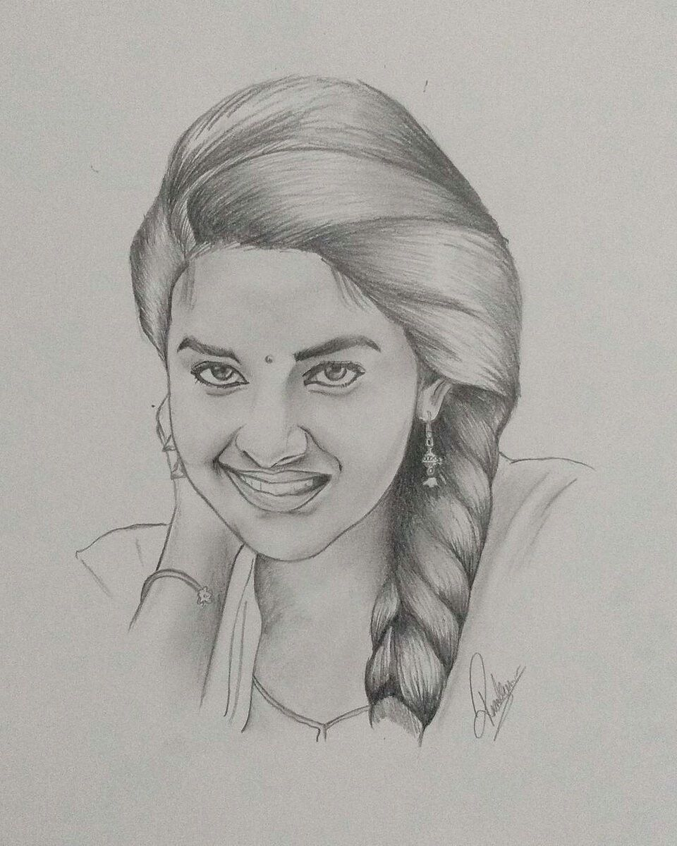 Pin by aburva arasu 🦋 on keerthy suresh ❤ in 2019 pencil art