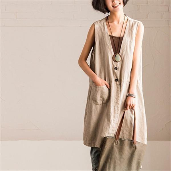 8b2a0e95b80 Women summer cotton linen V-neck vest top Coat | boutique | Cotton ...