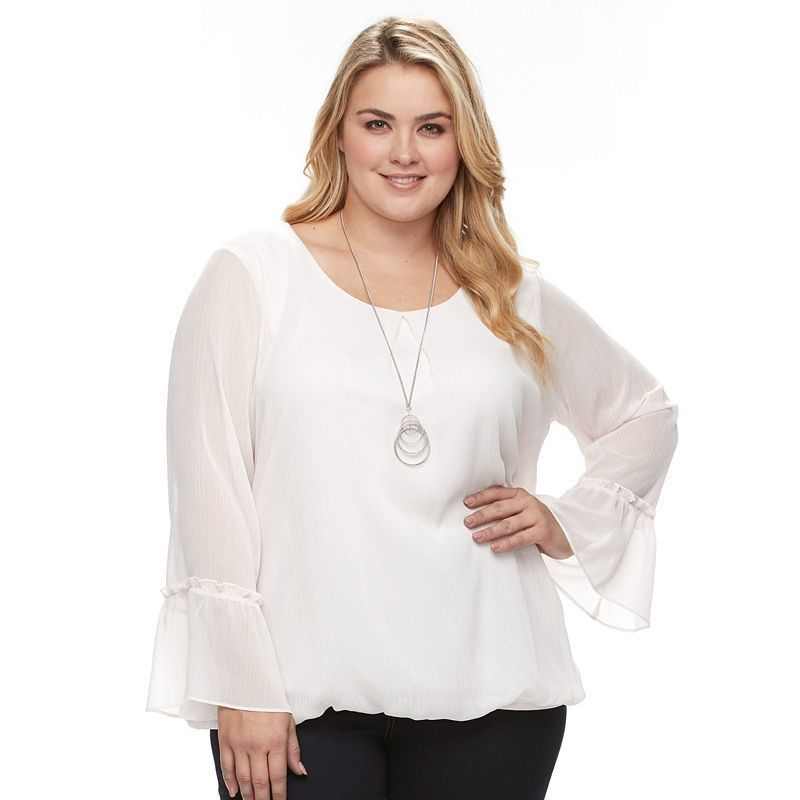 Plus Size AB Studio Bell Sleeve Yoryu Necklace Top, Women's, Size: 2XL,  Light Pink