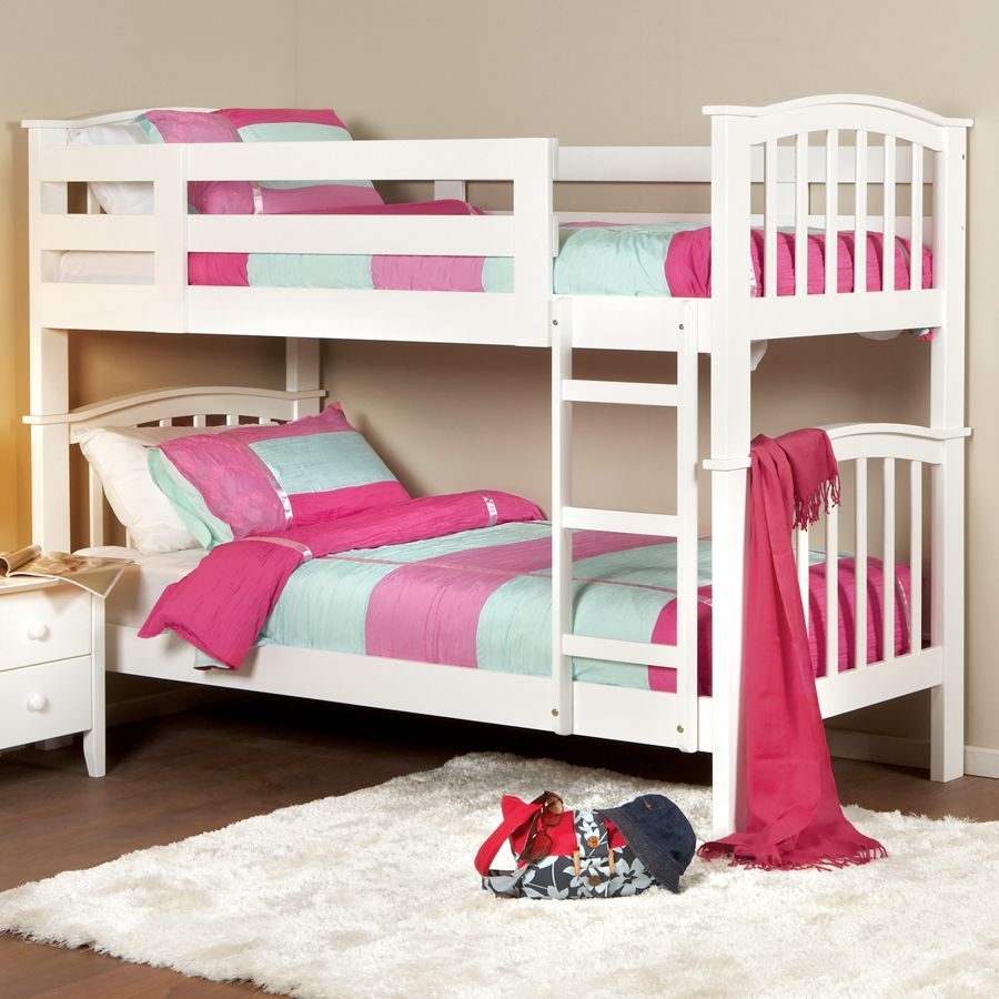 Attirant Furniture, Charmine White Bunk Bed For Kids Completed With Comfortable  Mattress And Pillows That Also Using Colorful Bedspread And Pillow Cover:  The Unique ...