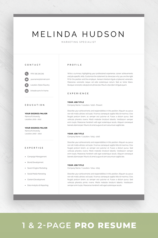 Pin On Professional Cv Templates