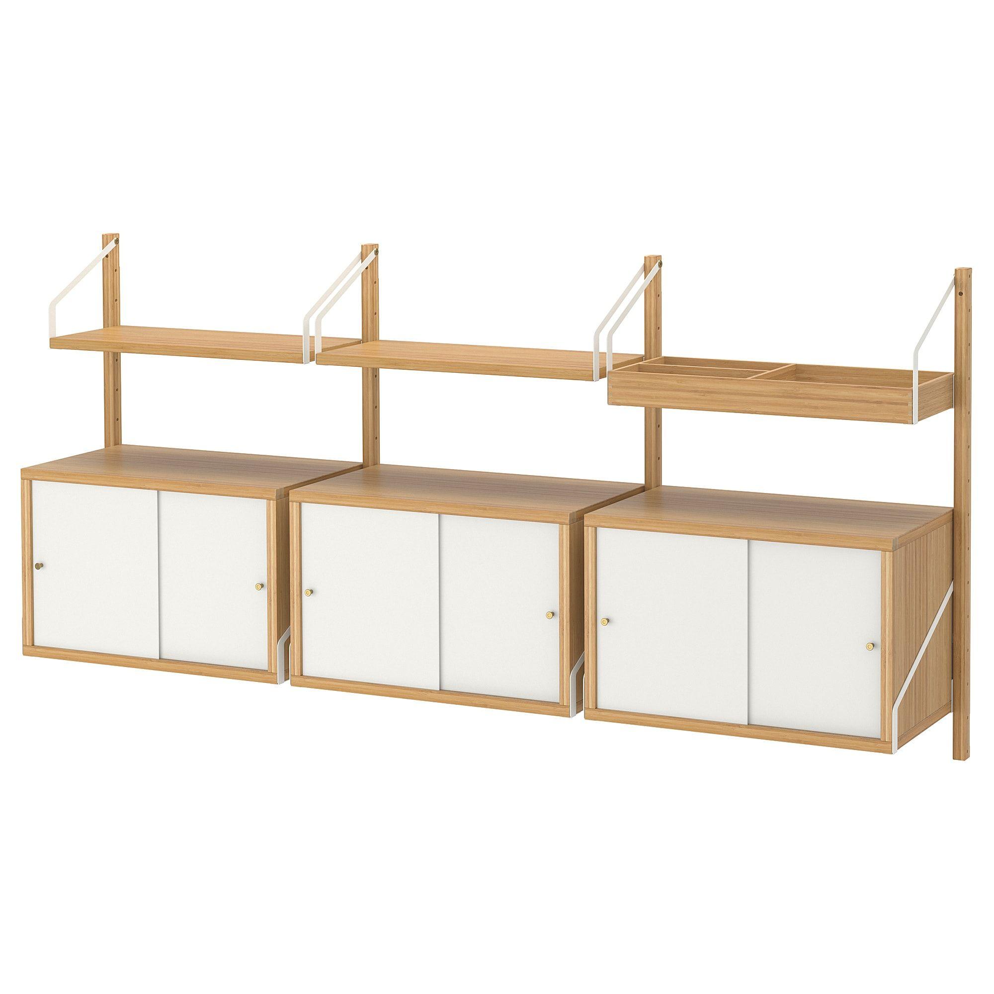 Ikea Svalnas Bamboo White Wall Mounted Storage Combination Ikea