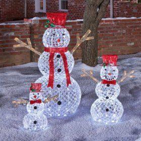 sams club members mark 3 piece illuminated crystallized snowman family