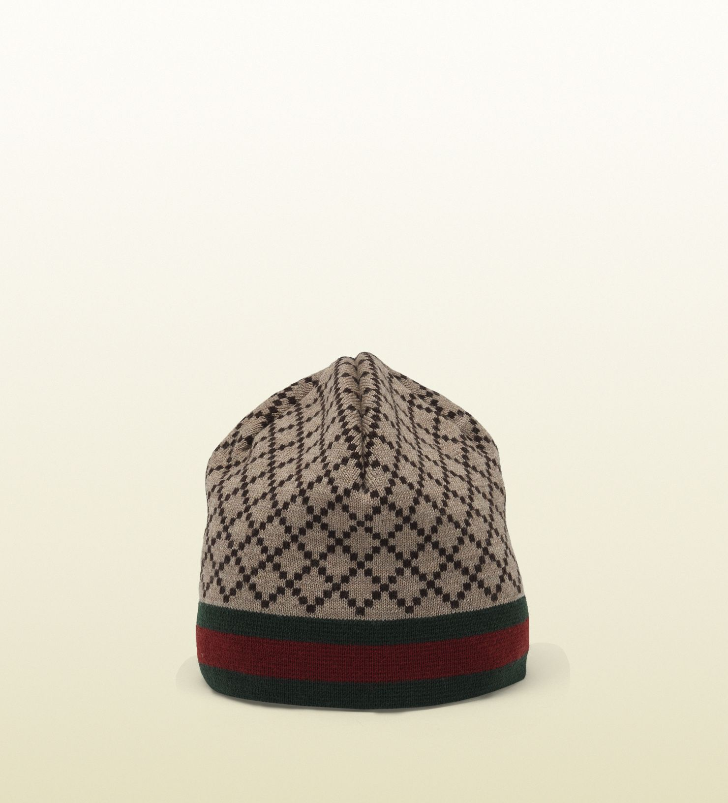 279177466 Gucci - diamante pattern knit hat with web detail 2952874G2062764 ...