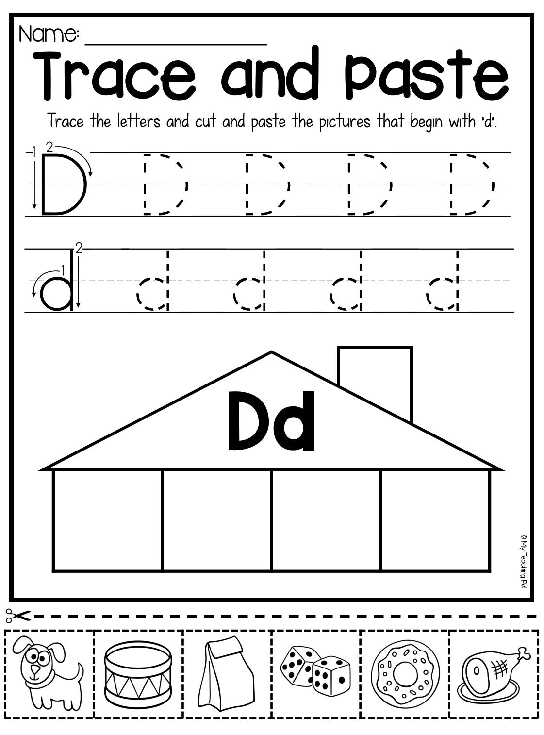 Beginning Sounds Worksheets - Trace and Paste   Letter d worksheet [ 1514 x 1121 Pixel ]