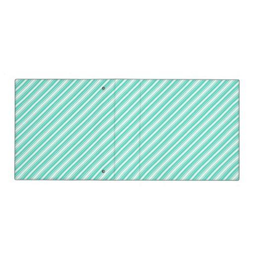 Tiffany Aqua Blue Christmas Diagonal Stripes 3 Ring Binders